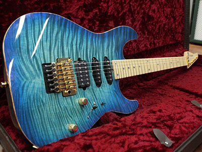 T's Guitars ST-24 Drop Top Exotic Maple Bahama Blue Burst のサムネイル